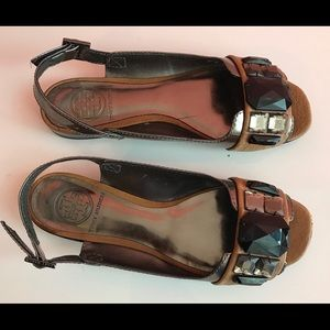 Gorgeous Tory Burch jeweled sandals size 6 brown